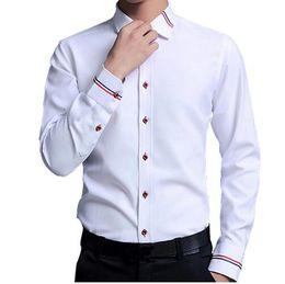 мужские белые свадебные рубашки Скидка Высокое качество бренда Мужская рубашка хлопка рубашки мужские Slim Fit с длинным рукавом свадебная рубашка мужской повседневный бизнес белый сорочка homme
