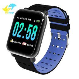 2019 reloj para fitbit flex Vitog A6 Deporte inteligente Banda Sangre de tensión inteligentes pulsera monitor de ritmo cardíaco rastreador de ejercicios inteligente a prueba de agua reloj de pulsera