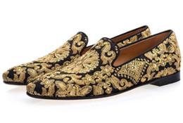 Вышитые туфли ручной работы онлайн-Zapatos Hombre New Мужская Черно-Синяя Обувь Ручная работа Золотые мокасины для вышивки