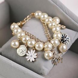 pêssegos em flash Desconto Moda coreana pêssego coração flor pulseira Flash de diamante D carta pulseira de pérolas atacado