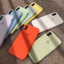 silicone rubber cover case for iphone Promo Codes - Official Liquid Phone Case for iphone X XS MAX XR 7 8 6s Plus fashion pure color Silicone Rubber Shockproof Cover Full Protective Case