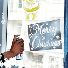 schneespray dekoration Rabatt 6 Teile / satz Frohe Weihnachten Neujahr Sprühmuster Santa Schneeflocke Fenster Weihnachtsschmuck Weihnachten Dekoration Schnee Vorlage