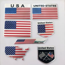 car flags stickers Coupons - 2019 New Fashion 3D Aluminum United States USA Flag car Badge Emblem 3M sticker accessories stickers For VW Audi chevrolet honda Car Styling