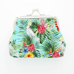 Moda stile tropicale fiore uccello gufo pappagallo portamonete tela portachiavi portafoglio hasp piccoli regali borsa frizione borsa da