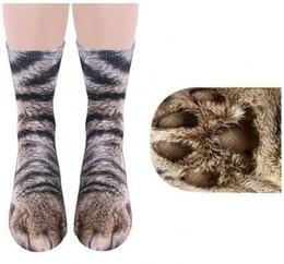 Tigre de algodão 3d on-line-3D Animal Pé Casco Meias de Algodão Cosplay Impresso Cat Dog Tiger Paw Pés Meias Para Crianças Adultas Xmas Casa Presentes Meia Quente
