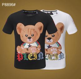 Urso P T-shirt Dos Homens Hip Hop Moda Tops Verão Designer Tee Tripulação Pescoço de Cristal Vara Tee Tops Hommi de