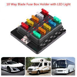 Freeshipping 10 Way Blade Fuse Box Circuit Fuse Box Block Holder con LED Kit luce d'avvertimento per auto Van Boat Marine Car-Styling da