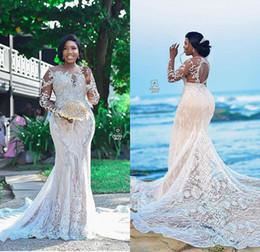 Sirena de encaje negro desnudo online-2020 de lujo con cuentas más el tamaño de vestidos de novia de sirena Joya Sheer cuello apliques de encaje Negro Gilrs Vestidos de novia por encargo hueco vestido de nuevo