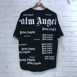 long tees Coupons - Palm Angels Oversize t shirt Wen Women 1p:1 High Quality Patchwork Full Printing Top Tees Fashion 2019 Cotton Palm Angels T-shirt