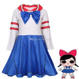 0d6f60885 Meninas do bebê uniforme escolar Arco cosplay vestido crianças menina  boneca vestidos de princesa dos desenhos animados Primavera Outono Boutique  crianças ...