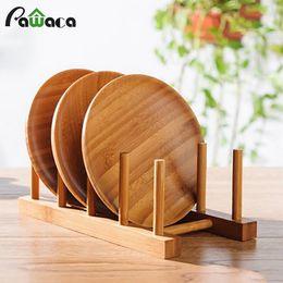plato de secado Rebajas 6/4/3 Capa Bamboo Dish Drainboard Drying Drainer Soporte de almacenamiento Soporte para armario de cocina Organizador para plato / plato / tazón /