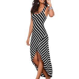 Vêtements grande taille pour femmes en Ligne-2019 nouvel été style robe de créatrice de femmes rayures irrégulière jupe longue vêtements s plus robes de soirée taille femmes vêtements pour femmes