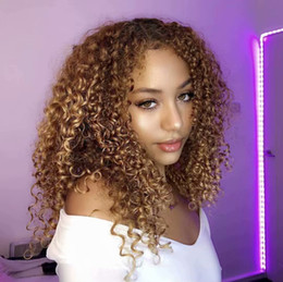 curly afro blonde human hair Promo Codes - 180 Density Afro Kinky Curly Blonde #27 Human Hair Silk Top Full Lace Front Wigs For Black Women Natural Hairline