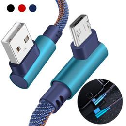 Micro jeans en Ligne-Jean Tissu Câble 90 Degrés Coude 1 M Type-C Micro Câble USB Chargeur Rapide Ligne De Données Cordon Câbles de Charge Sync Pour Samsung Huawei Xiaomi