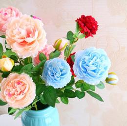 2019 Romantico Molti Colori Artificiale Peonia Fiore Ortensia Tre Teste Decorazione di cerimonia nuziale per la casa Decorazioni per la casa Decorazione floreale Parete del fiore da bling rose fornitori