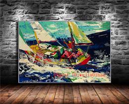 Óleo, pintura, mar on-line-Mares do Norte Vela, Pintura Da Lona Sala de estar Decoração de Casa Moderna Mural Art Pintura A Óleo