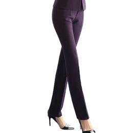 Ufficio di pantaloni viola online-Pantaloni Donna Formale Grande New Office Donna Sottile Pantaloni tinta unita Blu navy Taglia media Nero Viola Pantalon Mujer Femme
