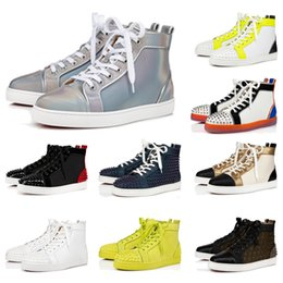 Nuove scarpe da ginnastica alte online-Nuove donne degli uomini dei pattini casuali di marca Rivet borchie piatte Scarpe ACE Fashion Sneaker Lace-up High Top pattini inferiori rossi di lusso Sneakers calda popolare
