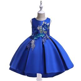 2019 meninas vestidos vestidos de princesa bordado estilo chinês saia jeans forjamento forjamento vestido de princesa vestido de festa show de vestidos s de