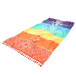 baby bath towel square Promo Codes - 7 Chakra Rainbow Stripes Tapestry Beach Towel Microfiber Fabric Material Bohemia India Mandala Blanket Yoga Mat Bath Towel Sleeping Pad