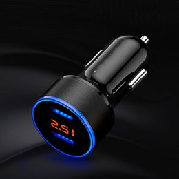 iphone 24 Promo Codes - Car Charger 5V 2.1A Display LED Fast Charger Dual USB Millimeter Car Charger iPhone 12-24 V Cigarette Plug
