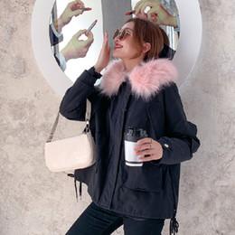 grüner parka rosa pelz Rabatt Fur Navy / Armee-Grün unten Cotton Parka Women Fashion Hellrosa warme Winter tragen Rosa Pelz Hoodieslined Outwear Jacke Ukraine T191115