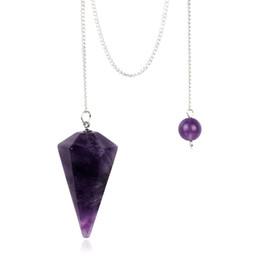 Pietra magica online-Pendolo di cristallo naturale pietra chiara Ossidiana nera quarzo rosa 6 faccette Puntali magici solidi Healing Reiki Bead Chakra Free Pouch