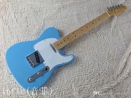 gitarren telecaster Rabatt Kostenloser Versand ! Festkörper-Gitarren Telecaster Sky Blue Farbe OEM Retro-Stil elektrische Gitarre auf Lager