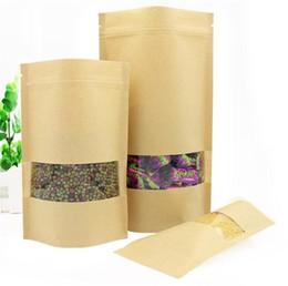 Nourriture plate en Ligne-Sac en papier kraft à fenêtre carrée, sacs zippés plats, sacs à thé, sac d'emballage étanche à l'humidité Sac étanche C253