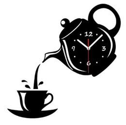 copos de café do relógio de parede Desconto Criativo diy acrílico xícara de café bule 3d relógio de parede decorativa relógios de parede da cozinha sala de estar sala de jantar home decor relógio