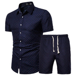 Männliche sommerhemden online-Mens-Sommer-Set Hawaii-Blumen Shirts + Strand Shorts 2 Stück Sets Quick Dry Short Sleeve Anzug Male Sets Ropa Hombre