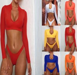 2020 costumi da bagno lunghi per le donne manica lunga Swimwear maglia sexy costumi da bagno delle donne del bikini delle donne a vita alta a tre pezzi attrezzature costumi da bagno costume da bagno Nuoto usura sconti costumi da bagno lunghi per le donne