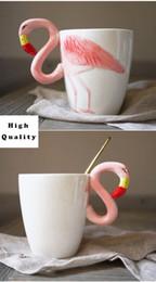 Vendita all'ingrosso Flamingo Ceramic Cup Pink Fantasy 3D Flamingos Carina tazza di caffè Tazza di birra Tazze 3D Cartoon fenicotteri tazza di ceramica da