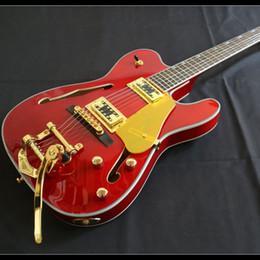 Guitarra electrica hueca f hole online-Hot F Hole Semi Hollow Body TL Guitarra eléctrica BB Bridge Gold Juego de herrajes en la junta