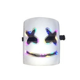 music mask Promo Codes - DJ Mask 7-colors Flash Type Full Head Helmet Halloween Cosplay Mask Bar Music Marshmallow PVC Helmet