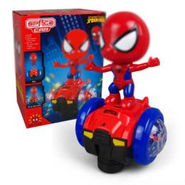 brinquedo dançando spiderman Desconto The Avengers Spiderman Equilíbrio Universal carro dublê Robot Robot Dance LED Light Electric Music Super herói presente do miúdo Toy Marvel elétrica