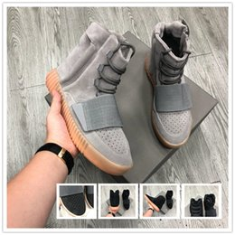 Marrone scuro online-Nessuna scatola Sneakers Kanye West in pelle marrone scuro Sneakers sportive da uomo