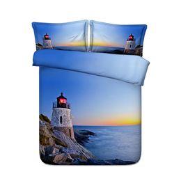 Ocean Lighthouse Bettbezug-Set Natur Rocks Waves Rising Sun Beach Island Seascape Theme 3 Stück Heißluftballon Bettwäsche Set 2 Kissen Sham von Fabrikanten