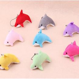 Decorazioni dei delfini online-Lovely Dolphin Mixed Color Mini Charms Simpatici Bambini Giocattoli di peluche Decorazioni regalo per ciondolo per feste per la casa EEA263