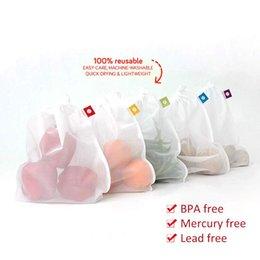 2019 sacs à main Eco Sac réutilisable pour les fruits légumes supermarché Cabas blanc Pliable pliant Shopper Mesh net sac sac pochette promotion sacs à main