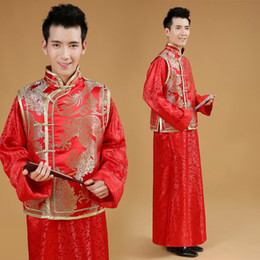 casaco casamento chinês homens Desconto Estilo chinês Vestido de Casamento Homens Tang Terno Jaqueta Masculina Chinês Robe Vermelho Traje Tradicional Homens Hanfu Roupas 18