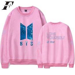 Argentina venta al por mayor 2018 Kpop Love Yourself Sudadera Mujer / Hombres Sudaderas Otoño Coreano Popular Mujer Sudadera Mujer supplier wholesale korean sweatshirts Suministro