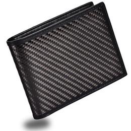 2019 kohlenstoff-brieftasche Mens Slim Fronttasche Wallet Kohlefaser Bifold Trifold Wallet RFID Blockierung # 124628 günstig kohlenstoff-brieftasche