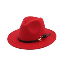 weite brim fedora jazz hüte männer Rabatt Hotnew Mode TOP Hüte für Männer Frauen Elegante Mode Solide Filz Fedora Hut Band Breite Flache Krempe Jazz Hüte Stilvolle Trilby Panama CapsWCW108