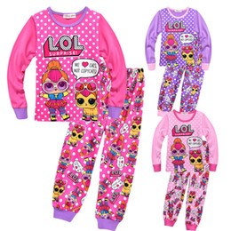 Lol Dolls printed children girls kids pajamas sets 100-140cm long sleeve  autumn spring new 2019 doll pajamas on sale e3c04cc3e