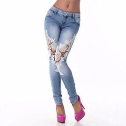 Escritório lápis calça senhoras on-line-Mulheres de Costura de Renda Jeans Calças Lápis Skinny Calças Jeans Skinny Verão Novo Diário Ocasional Buraco Magro Senhora Escritório Calças Lápis Q0313