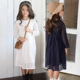 15 años vestidos de azul blanco online-Kids Princess Teens Girls 12 13 14 15 años Vestido de manga larga con encaje azul oscuro en otoño invierno J190615