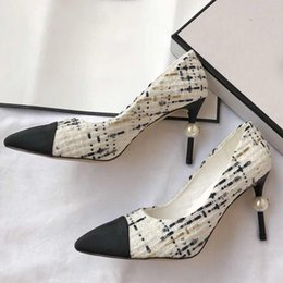 Sapatos abertos on-line-Bombas das mulheres sapatos de salto alto sandálias de verão aberto designer de lã sapatos de malha chinelos de pele de carneiro Point Toes Womens Party Shoes
