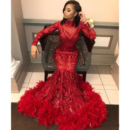 purple feather dresses Coupons - Red Mermaid Feather Prom Dresses 2019 New Long Sleeve Floor Length Sequined High Neck Formal Evening Dress Party Gowns