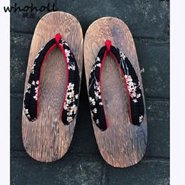 2019 scarpe da stampa floreale per donne Sandali donna Geta WHOHOLL Sandali Geta giapponesi Sandali infradito in legno Zoccoli con stampa floreale TPR Scarpe antinfortunistiche Kimono femminile sconti scarpe da stampa floreale per donne
